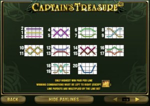 Captains Treasure Pro. Линии