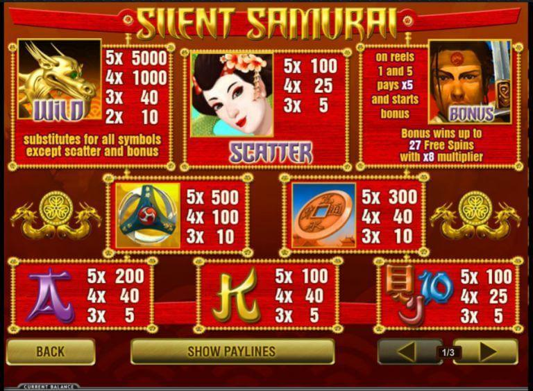 silent samurai online video slots
